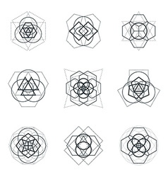 sacred geometric mandala design elements vector image vector image