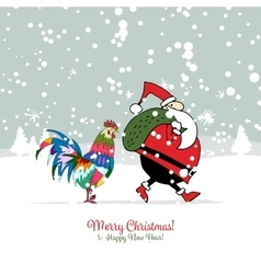 Santa Claus with Rooster symbol of 2017 vector image vector image
