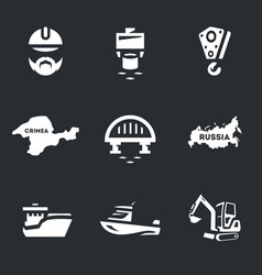 set of bridge building icons vector image