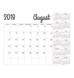 simple calendar planner for 2018 year vector image vector image