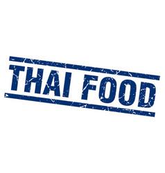 Square grunge blue thai food stamp vector
