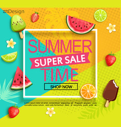 Summer super sale banner with fruits vector