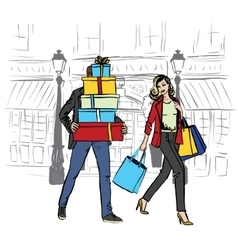 woman and man with shopping bags vector image vector image