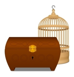 Wooden cage and casket vector image vector image