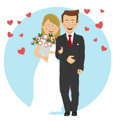 Young bride and groom wedding concept vector