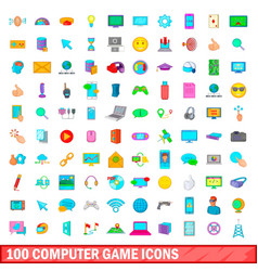 100 computer game icons set cartoon style vector