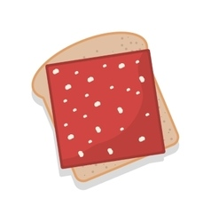 Silhouette color bread with ham vector