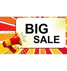 Megaphone with big sale announcement flat style vector