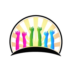 Hands of happy children logo vector