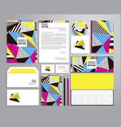 Corporate identity templates with neon colors vector