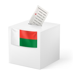 Ballot box with voting paper madagascar vector