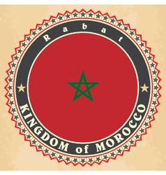 Vintage label cards of morocco flag vector