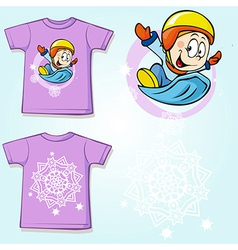 Kid shirt with winter sportsmen on sled printed - vector