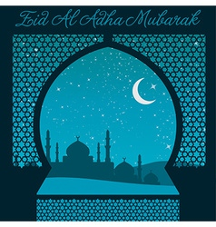 Eid al adha window card in format vector