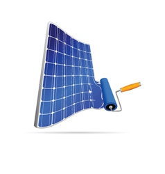 Solar panel with paint roller vector