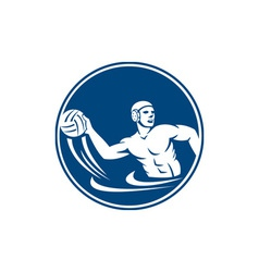 Water polo player throw ball circle icon vector