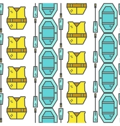 Rafting equipment seamless pattern outdoors style vector