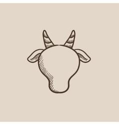 Cow head sketch icon vector image