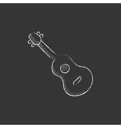Guitar Drawn in chalk icon vector image