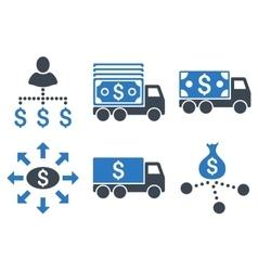 Cash delivery flat icons vector