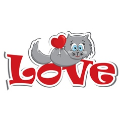 Cat with the heart vector image vector image