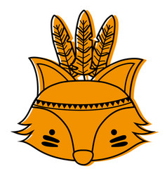 Color cute fox head animal with feathers vector