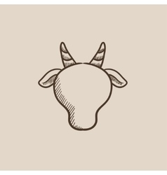 Cow head sketch icon vector image