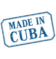 Cuba - made in blue vintage isolated label vector