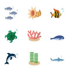 Flat icon sea set of seafood algae cachalot and vector