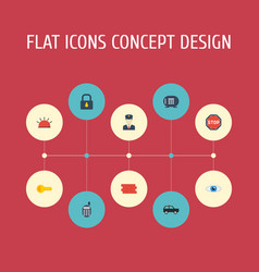 Flat icons brick wall vision siren and other vector