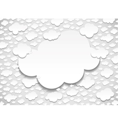 Frame with many cut out white paper clouds vector image