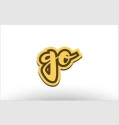go yellow black hand written text postcard icon vector image