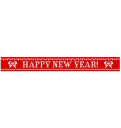 Happy new year knitted bow vector