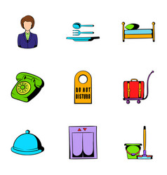Inn icons set cartoon style vector