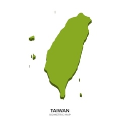 Isometric map of Taiwan detailed vector image