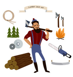 lumberjack timber and woodworking tools vector image vector image