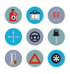 mechanic service set icons vector image vector image