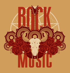 music banner with electric guitar roses and skull vector image vector image