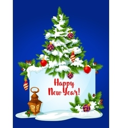 New year pine tree greeting card vector