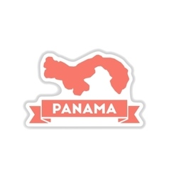 Paper sticker on white background panama map vector