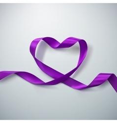 Purple ribbon heart vector
