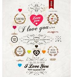 Retro Valentine Icon Set vector image