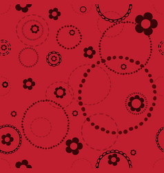 Seamless red pattern with doodles vector