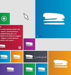Stapler and pen icon sign buttons modern interface vector