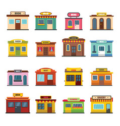 Store facade front shop icons set flat style vector