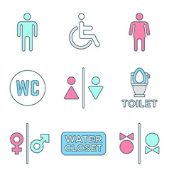 Various colored outline water closet signs toilet vector