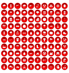 100 fruit icons set red vector
