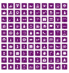 100 holidays icons set grunge purple vector image vector image
