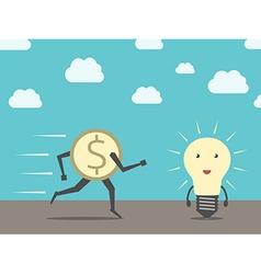 Dollar running to lightbulb vector image