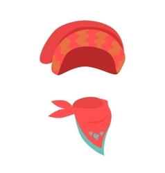 Hat contemporary red headwear for girls and scarf vector